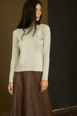 GY523 STRASS CIRCLES SWEATER