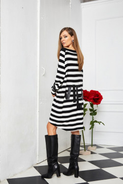NT118 STRIPED DRESS WITH PRINT
