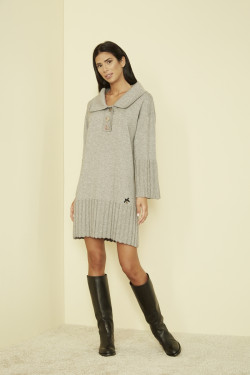 G9646 / 20 RIBBED POLO DRESS